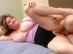 Hot busty milf gets her tight bald pussy drilled deep