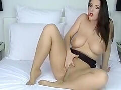 Sexy mature brunette with hot big tits and soft pussy teases on cam